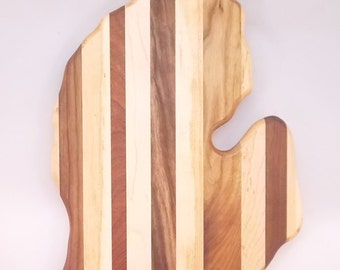 Michigan Shaped Cutting Board - Multiple Woods - In Stock Ready To Ship