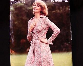 1970s Wrap Dress Pattern Butterick Misses size 16 Bust 38 UNCUT Wrap Around Dress Vintage Sewing Pattern