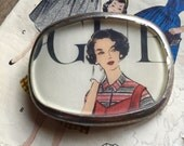 sewing pattern belt buckle repurposed vintage image pewter buckle women's fashion eco gift Elizabeth Taylor