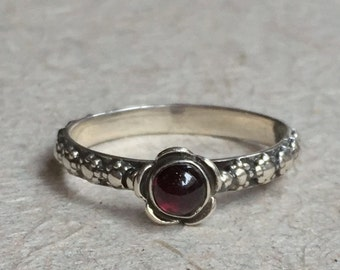 Garnet ring, skinny ring, Thin Ring, floral ring, sterling silver ring, floral band, red stone ring, engagement ring - Signs of time R1694-1