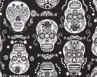 193235 black glow in the dark folklore skulls sugar skull fabric