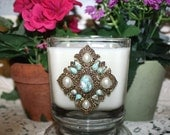 ReSeRVeD FoR SuSaN - Soy Wax Decorated Candle,Repurposed Vintage Sarah Coventry Faux Turquiose Brooch,Homemade,YOUR SCENT CHOICE,Hand Poured