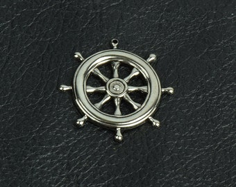 Ships Wheel Charm/Pendant, Antiqued silver Metal Stamping, pk/6 15250AN