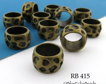 13mm Large Hole Antique Brass / Bronze Textured Ring Beads (RB 415) 8 pcs BlueEchoBeads