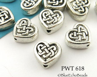 9mm Pewter Celtic Heart Bead, Lead Free, Antique Silver (PWT 618) 12 pcs BlueEchoBeads