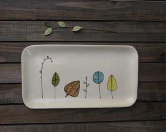 Ceamic leaf tray, colorful fall leaf tray, hand drawn leaf illustration,  woodland home decor