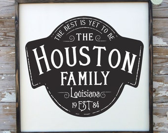 Family Name Sign - Established Date Sign - Anniversary Gift - Wedding Gift