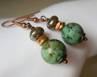 Natural African turquoise bead earrings, iron pyrite, african brass beads, ethnic copper earrings Africa inspired blue green turquoise metal