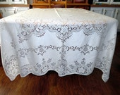 Vintage Lace Tablecloth Lace Overlay Cotton With Picot Trim Thanksgiving Wedding ECS SVFT