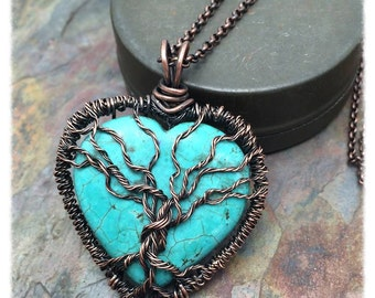 Turquoise Magnesite Heart Gemstone Tree of Life Copper Wire Wrapped Necklace, Reversible,Valentine Gift, Anniversary,Birthday, Love, Sister