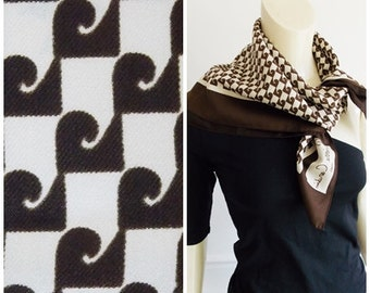vintage Pierre Cardin Paris brown white Scarf / French designer scarf / 60s 70s abstract scarf