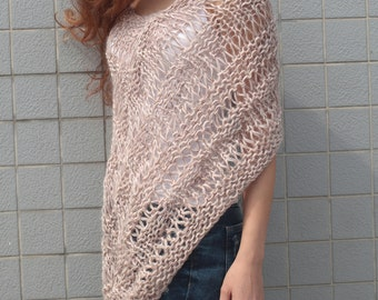 Hand knit little poncho knit scarf knit shrug Dusty Pink woman sweater