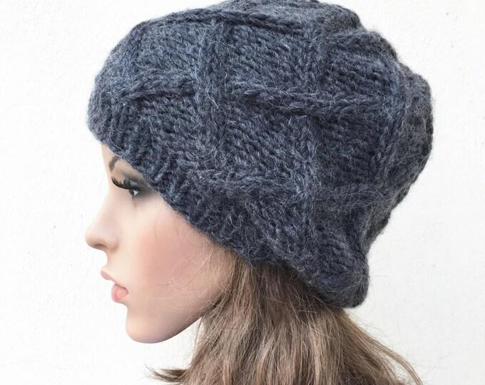 Hand Knit Hat wool Beret Hat Charcoal hat