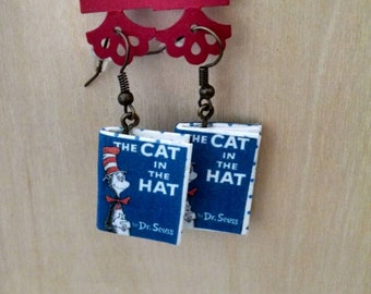 Mini Cat in the Hat Earrings - Handmade Dr. Seuss Book Jewelry - Handmade Book Earrings - Mini Book Jewelry - Handmade Mini Book Earrings