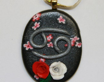 Red White Rose Cancer Astrology Zodiac Pendant Polymer Clay
