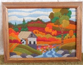 Vintage Completed Crewel Embroidery Old Mill Fall Country Scene Reserved for Jess of the Happy Heart! :)