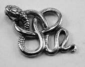 Snake pendant or charm 1 bail Australian Pewter AF296