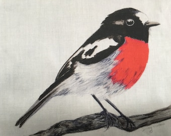 Scarelt Robin  red breasted robin Fabric penel by Cindy Watkins  cotton