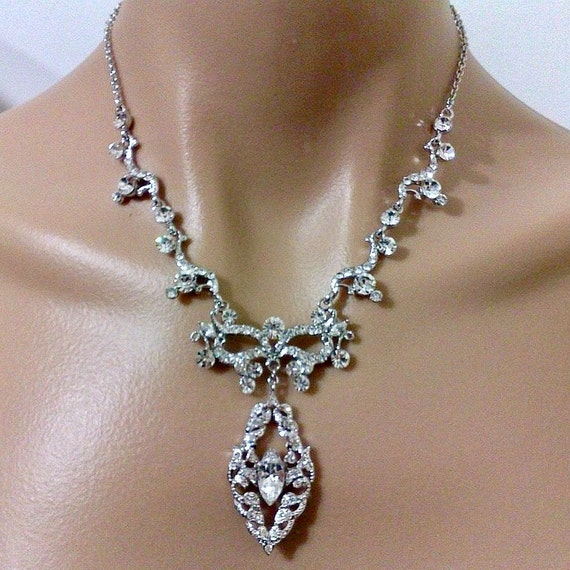 Statement Bridal Necklace, Art Nouveau Wedding Necklace, Vines Necklace, Leaves Bridal Jewelry, Swarovski Crystal Wedding Jewelry, ESMIRALDA