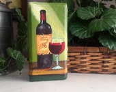 Wine Art, Painted Paver, Wine Lover Gift, Painted Doorstop, Painting On Brick, Wine Bottle, North Carolina Winery Art, Acrylic Painting