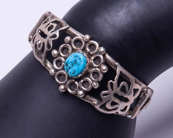 70s Sterling Turquoise Butterfly Cuff - Small Vintage Bracelet - Best Buy
