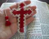 Tatted Lace Cross Bible Bookmark Red Beautiful Heirloom Quality Keepsake