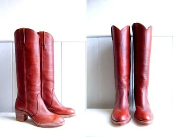 1970s Never Worn FRYE Boots // Caramel Brown Tall Campus Boots // Wood Stacked Heels // Black Label // Size 6.5