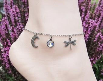 Silver Anklets Dragonfly Moon Anklet Women's Anklet Charm Anklet Swarovski Crystal Anklet Beach Jewelry Summer Anklet Ankle Bracelets