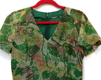 Vintage Floral Maxi Dress, Retro Maxi Dress, Green Maxi Dress, Small Maxi Dress, 1970s Maxi Dress, Formal Dress, Retro Prom Dress