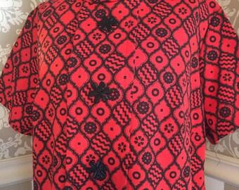 Vintage 60s Black and Orange Mod Dress Large Flower Buttons M