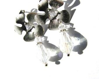 Silver Flower Cubic Zirconia Earrings, Swarovski Crystal Teardrop Earrings, Sterling Silver Stud Earrings, Feminine Gift on SALE