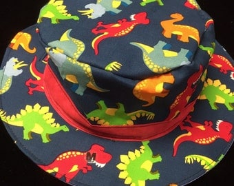 Reversible Teal dinosaur Fishing Hat  size 4-12 months, 1-3 years 4-6 years or 7 to adult