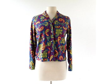 Vintage 1950s Blouse | Paisley Print Cotton Blouse | 50s Top | Small S