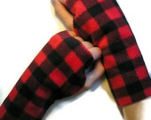 KIDS Red and Black Checked Fleece Fingerless Gloves (Sizes Kids XS - XL)