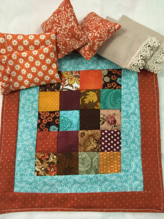 Dollhouse Miniature  Fall Patchwork Quilt, 2 Fall Pillowcases, 2 Fall Euro Shams and 2 Fancy Lace Edged Pillowcases-1:12 scale