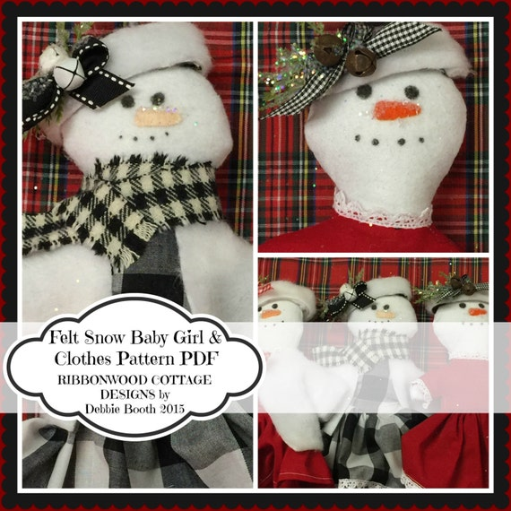 """Sewing Pattern PDF Pattern-Wool Felt Snowman Feltie Baby Girl Toy and Clothes Doll 7""""- 8"""""""