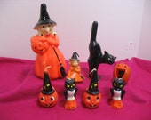 Lot of 8 Vintage Halloween Candles Gurley Gas Station Tavern Premium Candles Witch Cat Pumpkin Owl Jack O'Lantern