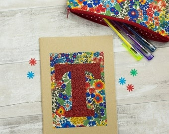 Liberty Glitter Initial Notebook - gift for flower lover - Liberty of London gift - gift for flower girl - bridesmaid gift
