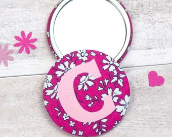 Floral letter mirror - Liberty of London - personalised gift - personalized - mothers day gift - wedding favour - party bag - initial mirror