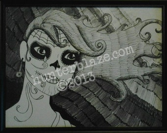 Day of the Dead Girl Print by Hunter Blaze Pearson,  8.5 x 11 , signed