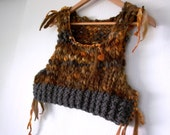 earthen gypsy. handknit cropped sweater vest bodice . organic wool recycled sari silk handspun art yarn . rustic bohemian gray brown orange