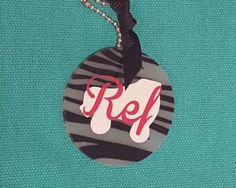 Roller Derby Referee Key Ring or Bag Tag, Zebra, Sports, Skater