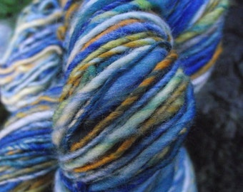 Handspun art  yarn, handpainted hand dyed worsted thick and thin Organic Polwarth yarn -Starry Night