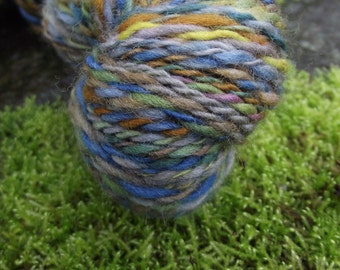 Handspun yarn, handpainted Organic Polwarth wool yarn worsted thick and thin-Farmstead