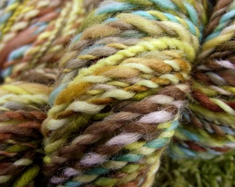 Handspun yarn, handpainted Falkland  wool yarn, handmade yarn worsted  multiple skeins available-Helianthus
