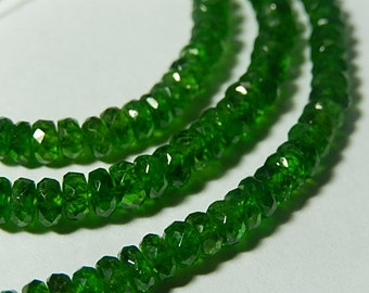 Chrome Diopside Gemstone.  Green Faceted Rondelle, 4.5mm. Semi Precious Gemstone. Your Choice. (4cd)