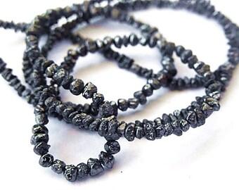 BLACK DIAMOND Gemstone, Raw, Rough, Polished Diamond Nuggets, Precious Gemstones. Strand  Size / Quantity (55dia1).