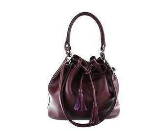SALE -Purple Leather Bag, Leather Shoulder Bag, Drawstring Bag,Handbag, artoncrafts