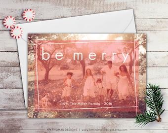 Custom Photo Holiday Card - Photo Christmas Card - Winter Holiday Photo Card - Color Overlay - Peach - Full Bleed Photo - WH209