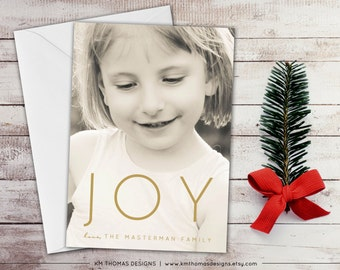 Modern Joy Photo Holiday Card - Winter Photo Card - Photo Christmas Card - New Years Photo Card - Full Bleed Photo - Gold Joy - WH214